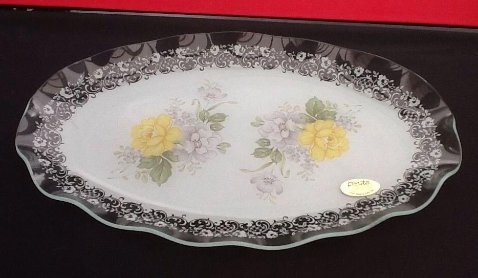 Chance glass yellow rose vintage cake platterdishplate