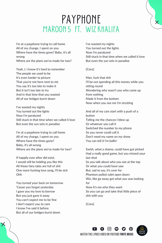Payphone Maroon 5 Rap Lyrics Quotes Rap Quotes Hip Hop Quotes