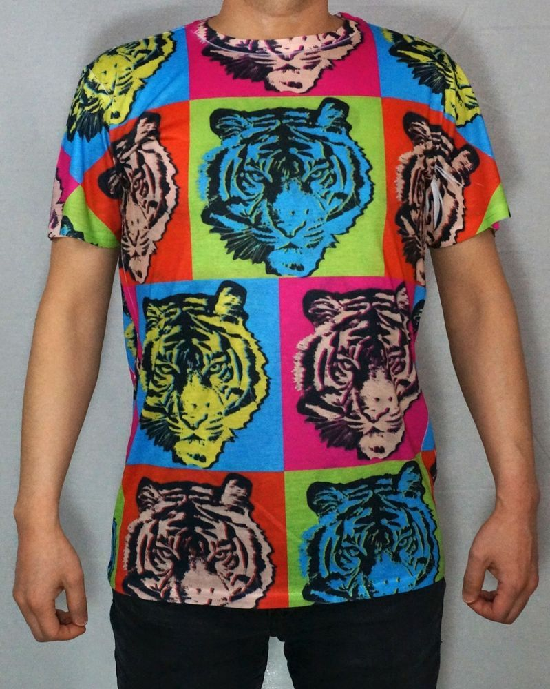7a2491700 K Men's Sublimation All Over Print T-Shirt Pop Art Tiger S-XL #KaydenK  #GraphicTee colorful bright
