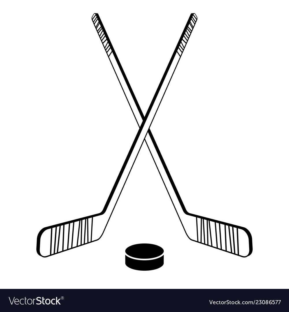 Two Crossed Hockey Sticks Vector Image On Vectorstock Hockey Drawing Hockey Tattoo Hockey Stick
