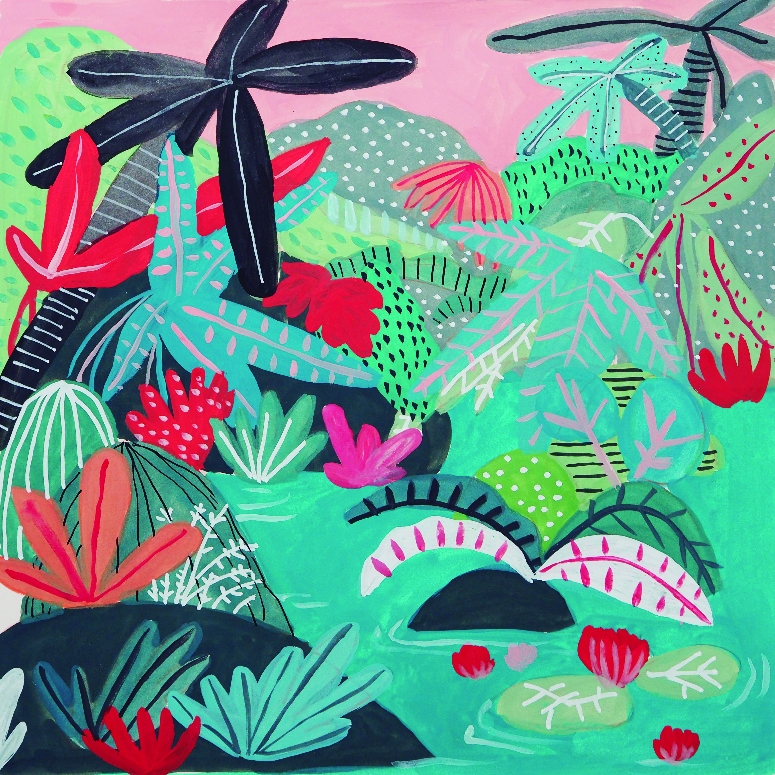 A lush jungle illustration  Bold colours and lines in this