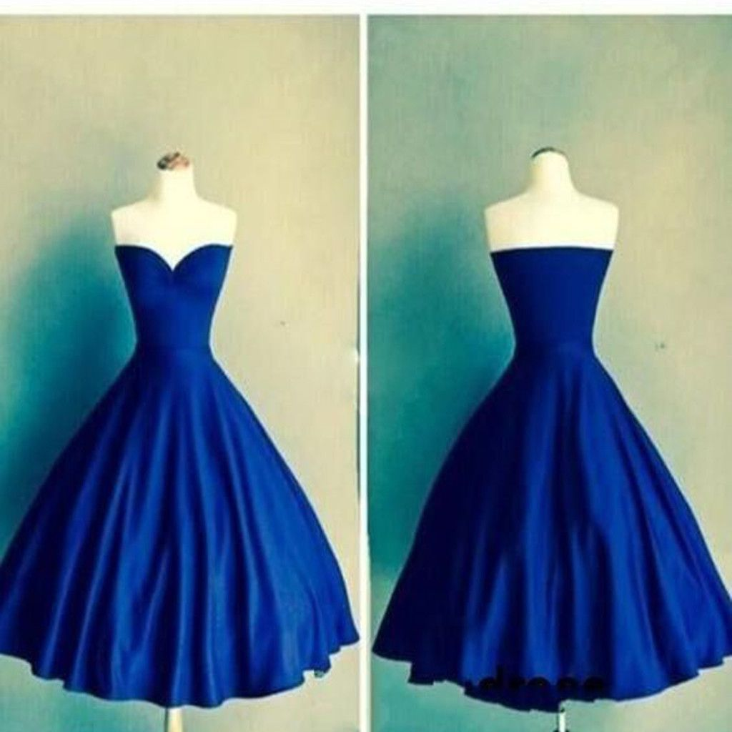 Royal blue ball gown sweetheart simple tight homecoming prom gown
