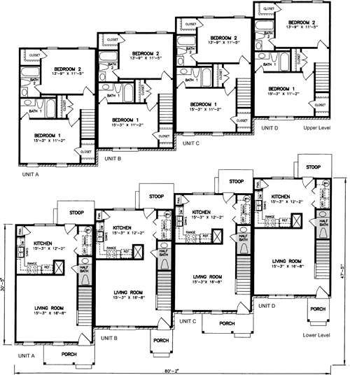Hartwell 4872 Town House Floor Plan Small Apartment Plans Duplex Plans