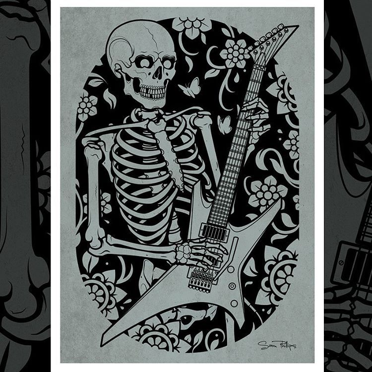My Skeleton playing guitar print design is now... | Sam Phillips Illustration