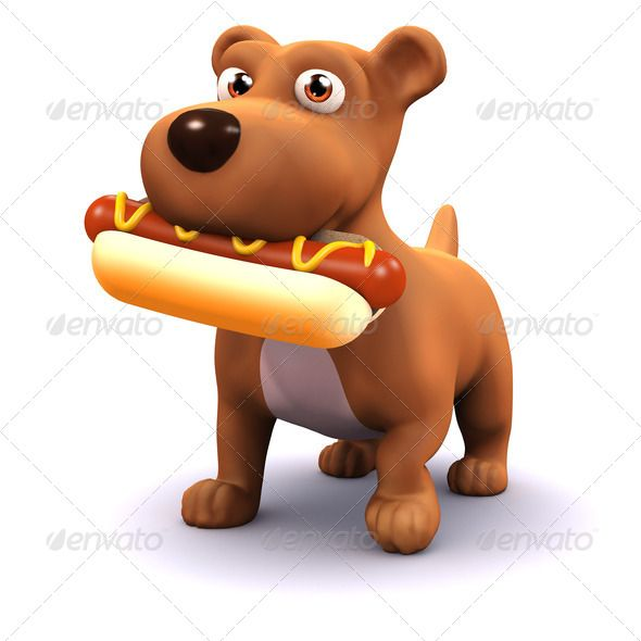 3d Animal Canine Cartoon Character Cute Dog Friend Funny Hot Dog Hound Illustration Isolated Loyal Mammal Mongrel Pet P Perros Calientes Perros