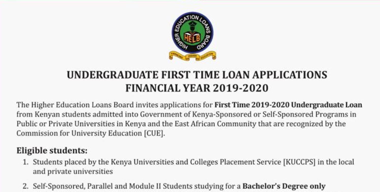 First Time Helb Loan Application For Kuccps 2019 Students Undergraduate Undergraduate Student Postgraduate Students