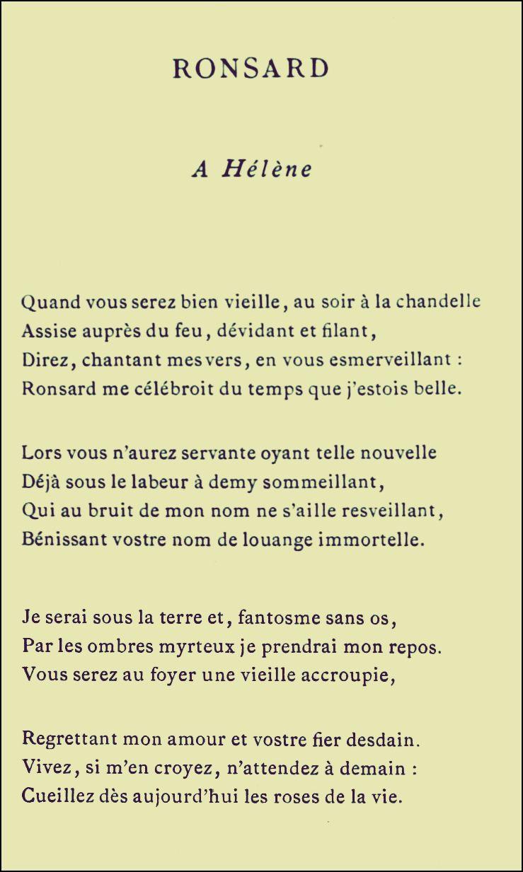 Ronsard à Hélène Poeme Et Citation Image Avec Texte Et