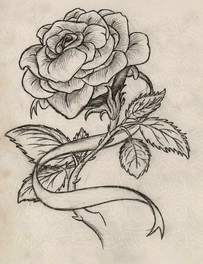 Rose With Ribbon Tattoo By Maszeattackdeviantartcom On At Deviantart