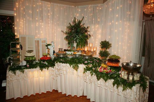 Greenery Adds So Much To Any Display Buffet Table Wedding Receptions Wedding Buffet Table Buffet Wedding Reception