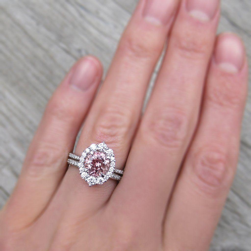 Emerson peach sapphire diamond halo u band ct in
