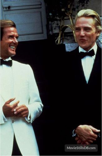 A View To A Kill - Behind the scenes photo of Christopher Walken & Roger Moore
