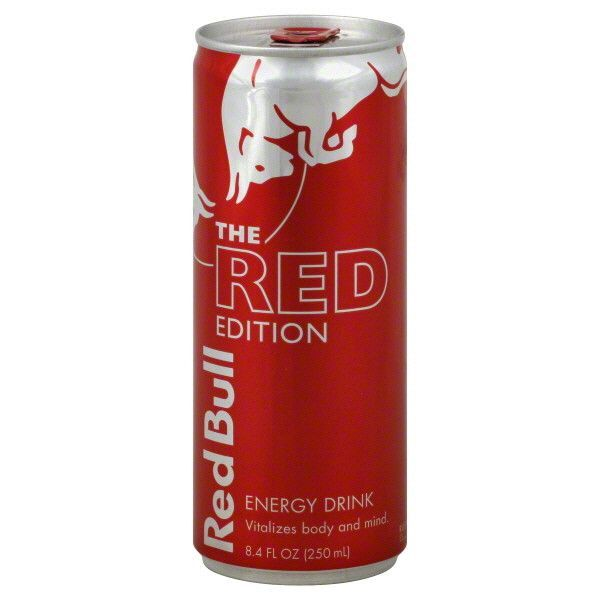Red Bull Energy Drink - The Red Edition Details 8.40 fl oz SKU / UPC: 611269357011 Nutrition Nutrition Facts Serving Size 1.0 can Servings Per Container Amount Per Serving Calories 110 Calories from F