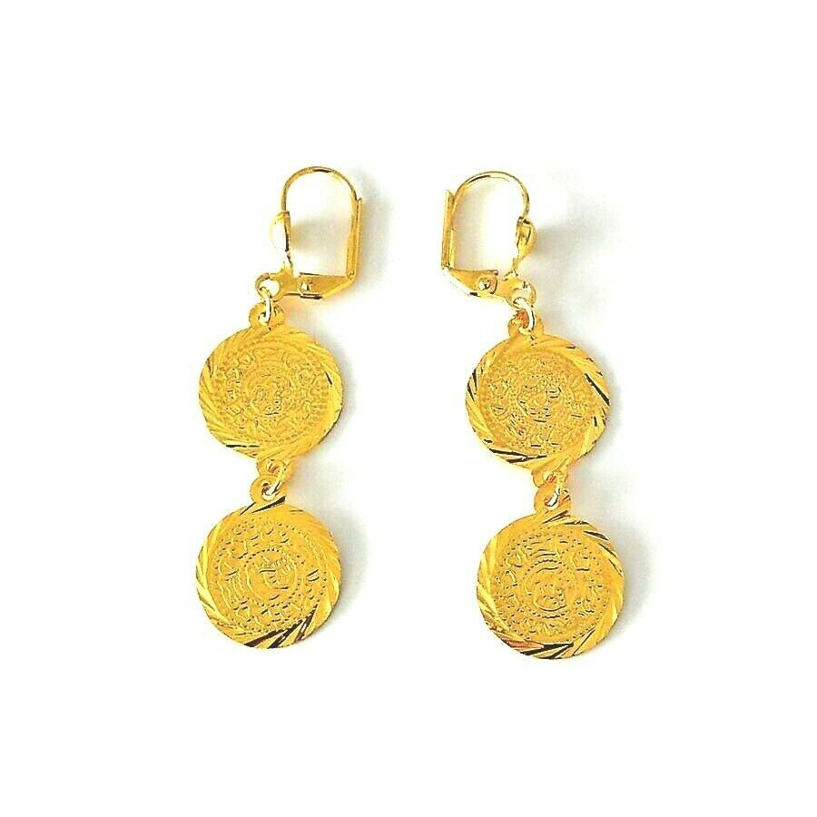 Wholesale Jewelry Gold Filled Earrings Round Two Coins 10k Yellow Gold Filled 2