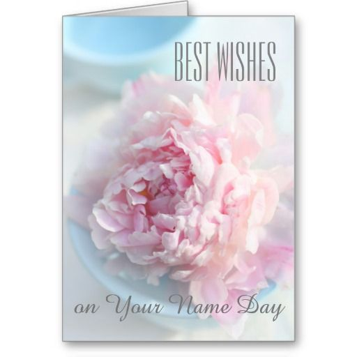 Best wishes name day card pink peonies cards wishes a beautiful name day card with customizable wishes inside m4hsunfo