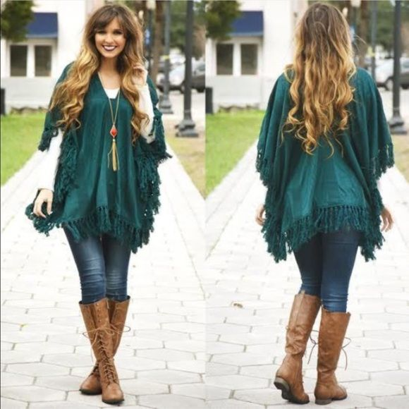 Dark green poncho Brand new never worn dark green poncho Shop hopes Jackets & Coats