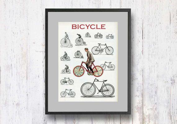 Bicycle Print Retro Artwork Retro Art Print Retro by shlomitsart, $15.00