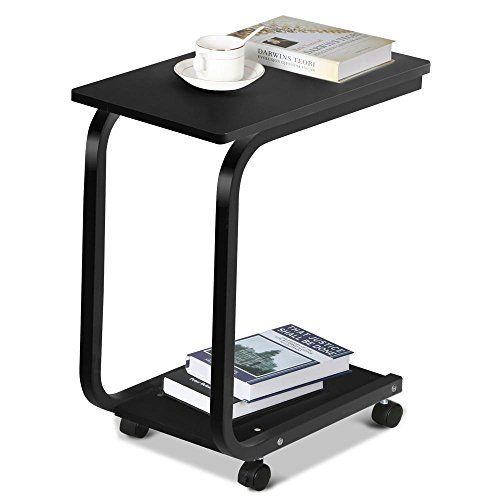 Go2buy 2 Tier Portable Rolling Sofa Side End Table With Storage Shelf On Wheels Black Visit The Image Link Mor Mesa De Apoio Para Sofa Bandeja Para Cafe Mdf
