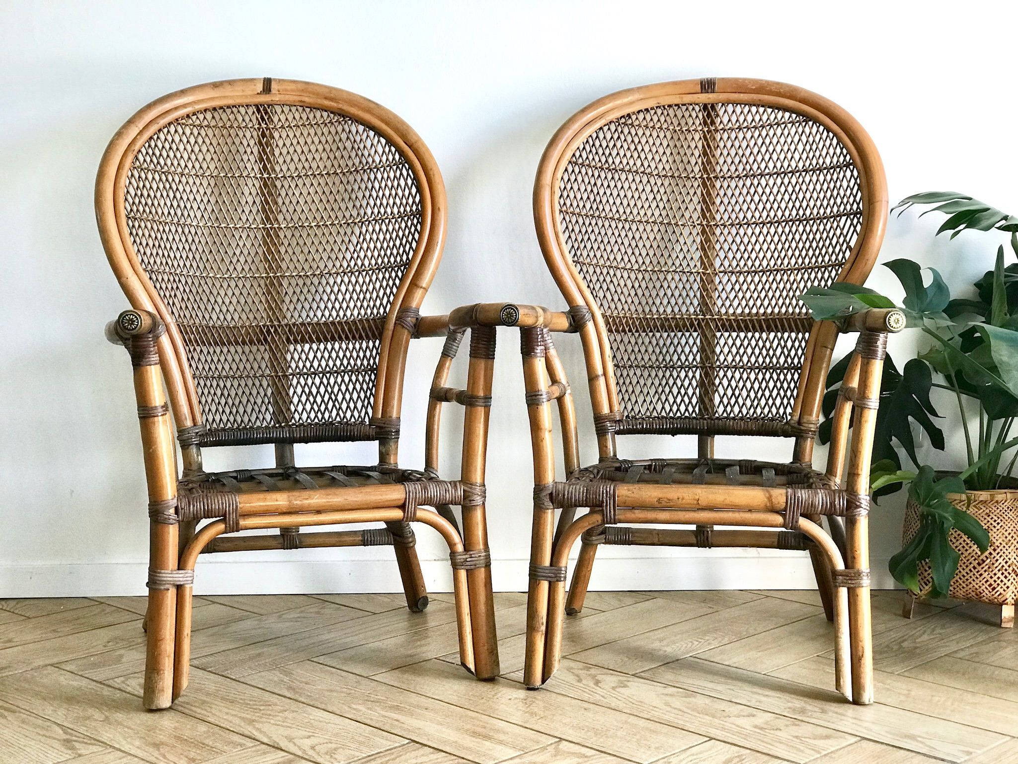 Fan Back Wicker Chair Office Workout Abs Set Of 2 Bamboo Chairs Rattan Dining