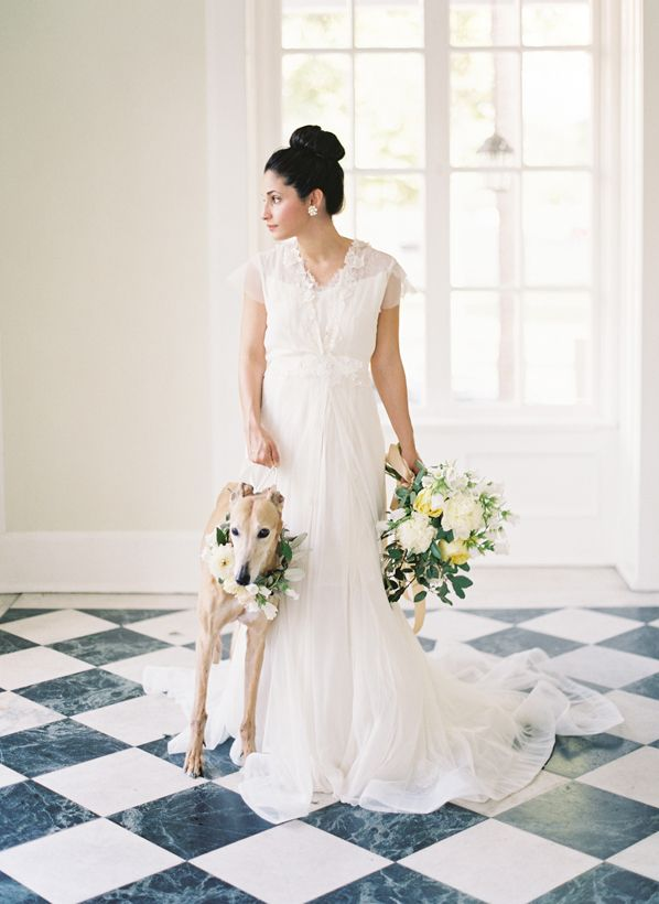 Chiviano Couture dress and a sweet four legged friend with floral collar. Photo: Landon Jacob Photography