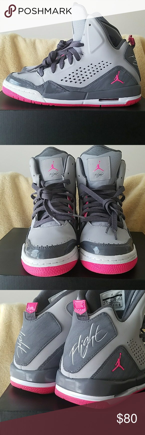 555a9e72c6ae Like New Jordan s Worn 2-3 times. Pink Gray. Youth size 6.5 or womens 8.5. Jordan  Shoes Athletic Shoes