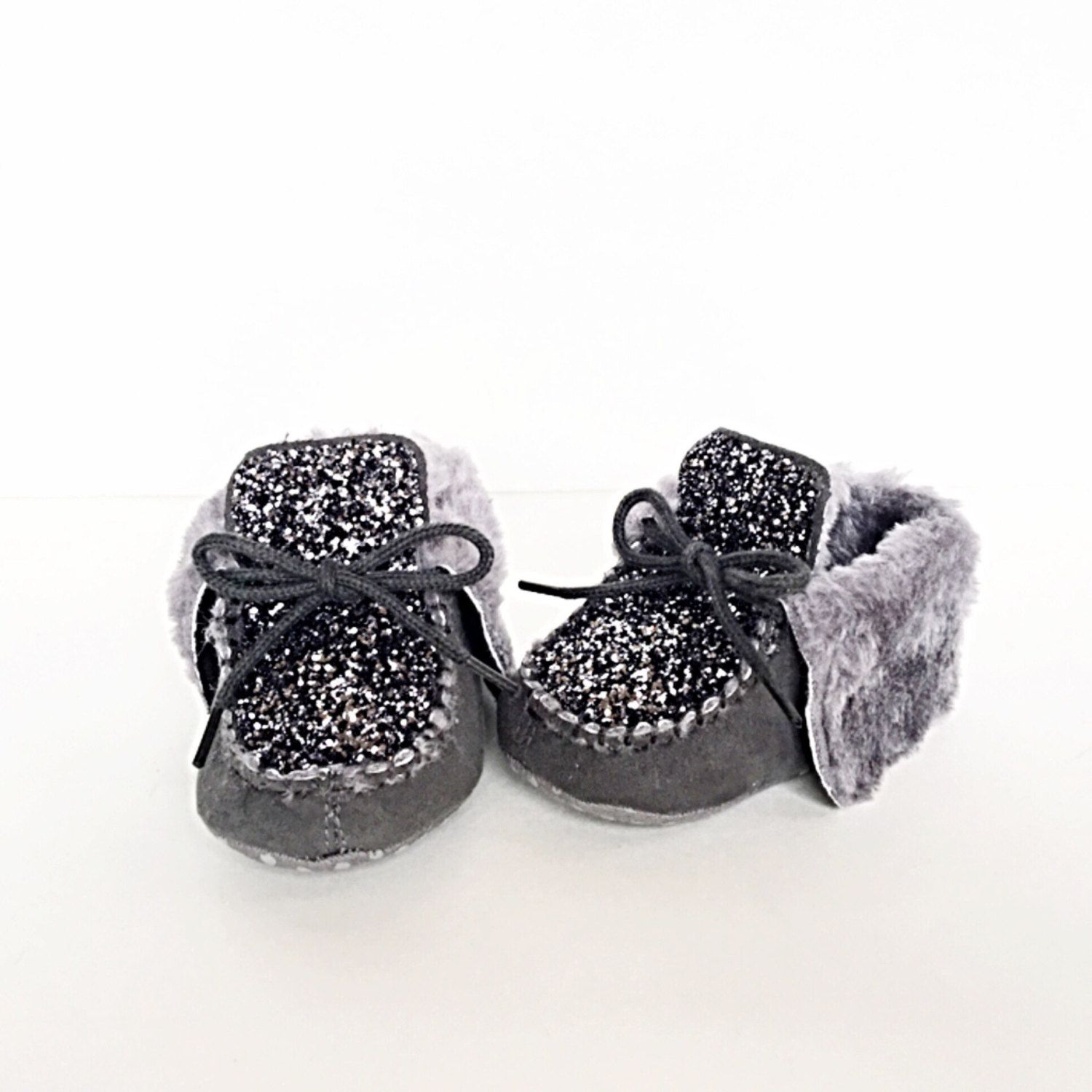 Baby Glitter Shoes Grey Gray Toddler Kids Boots Silver Charcoal