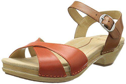 Dansko Women's Larissa Dress Sandal, Tangerine/Caramel Full Grain, 36 EU/5.5