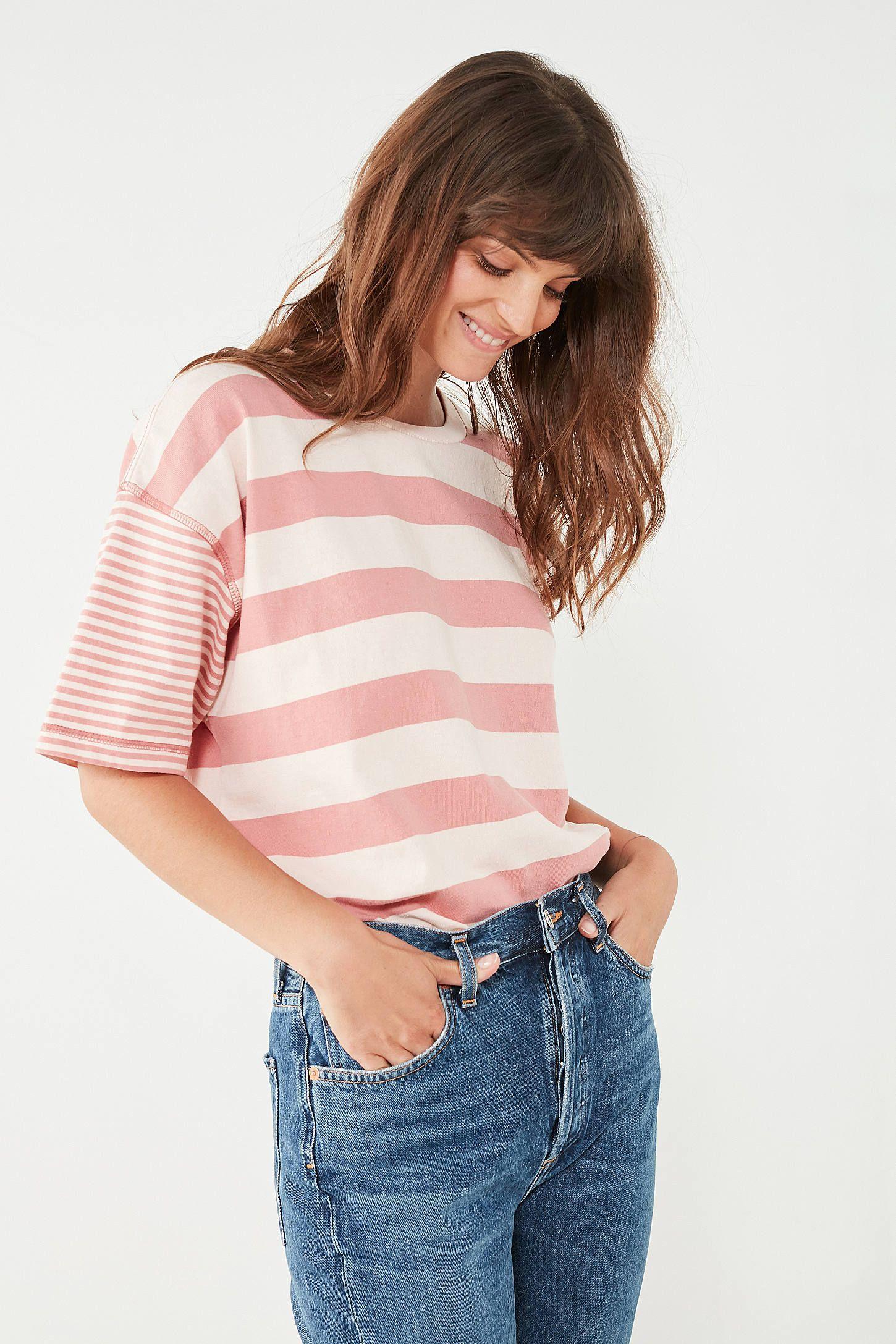 Bdg boston oversized striped ringer tee