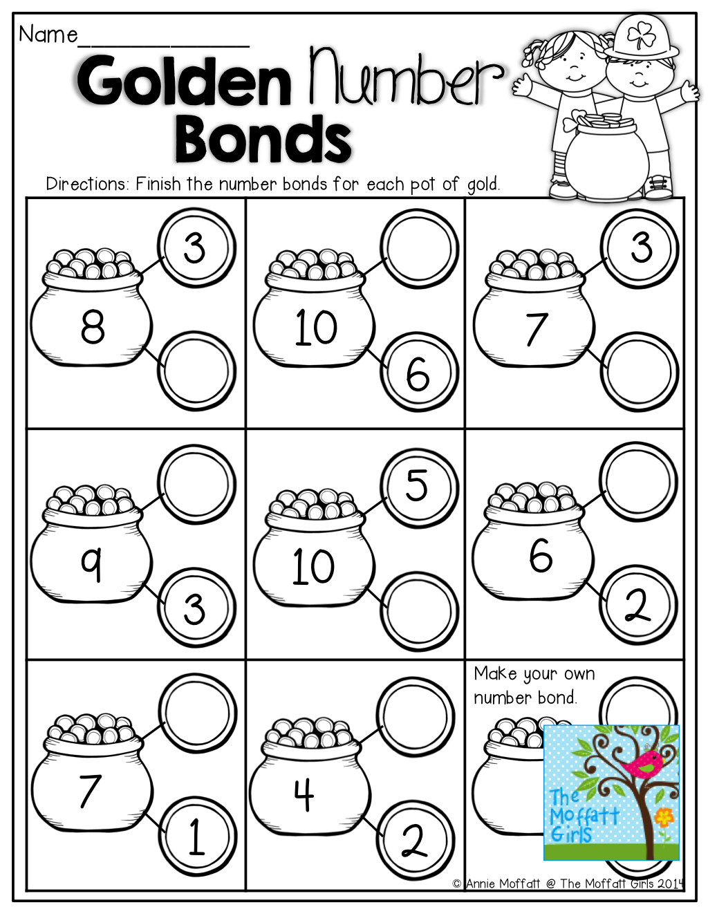 Number Bonds! Fill in the missing part on the coins! Tons of fun and  effective p…   Number bonds worksheets [ 1325 x 1024 Pixel ]
