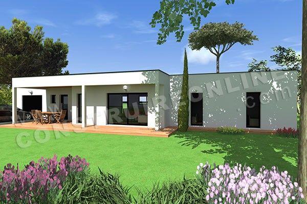 Plan de maison plain pied contemporaine atila 1 maisons de plain pied en 2019 pinterest - Style de maison moderne plain pied ...