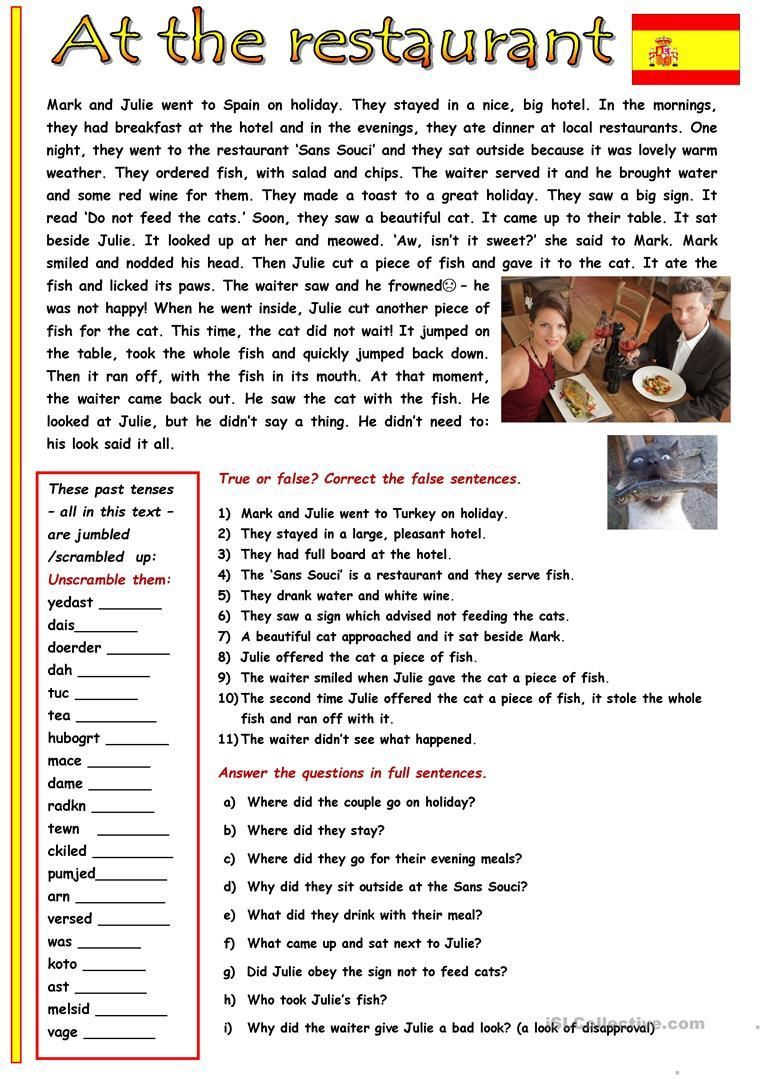 At The Restaurant English Esl Worksheets For Distance Learning And Physical Classrooms Reading Comprehension Lessons English Words English Reading [ 1079 x 763 Pixel ]