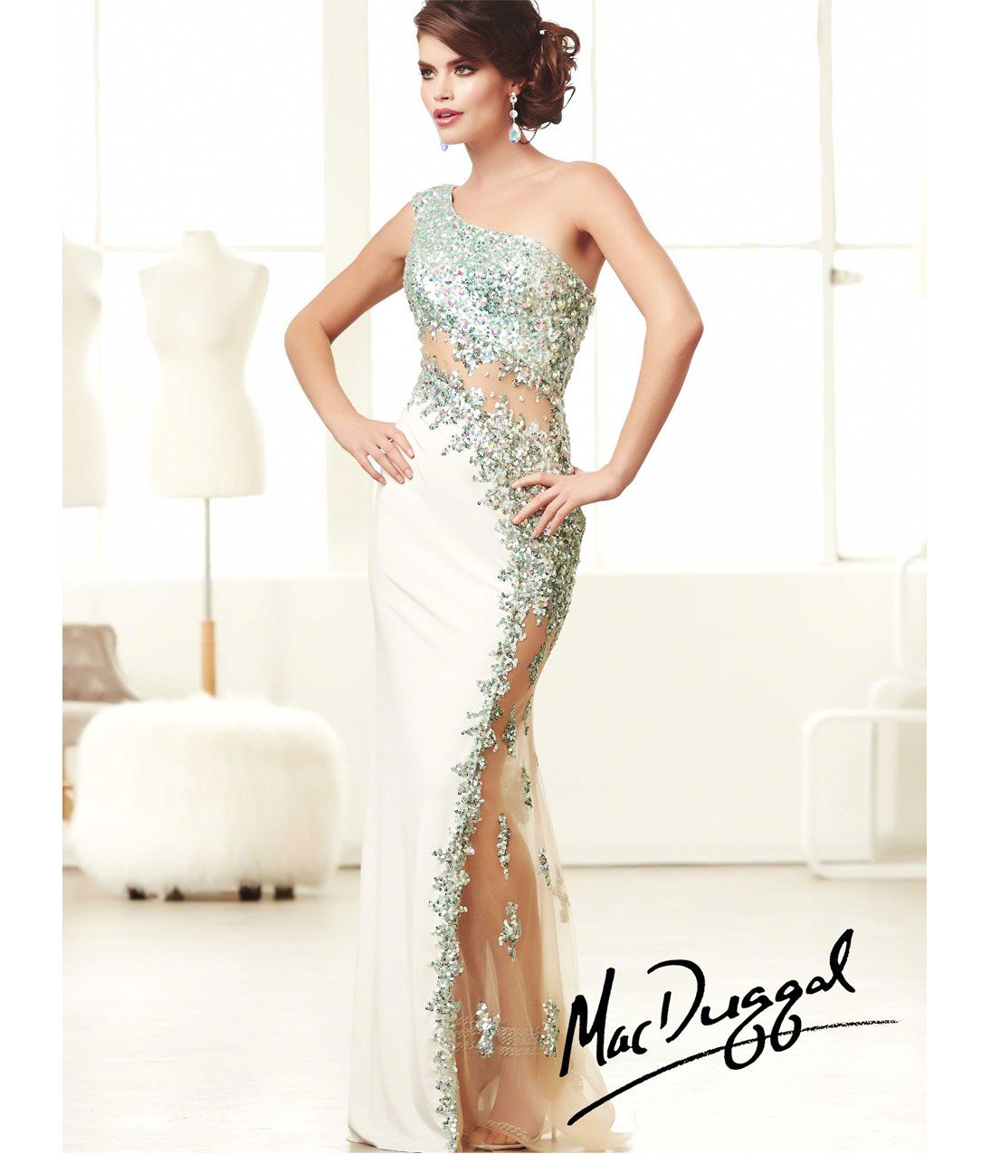 Preorder mac duggal prom dresses aqua u white jersey one