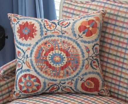 orange and blueembroidered suzani pillow covers from antiquarian