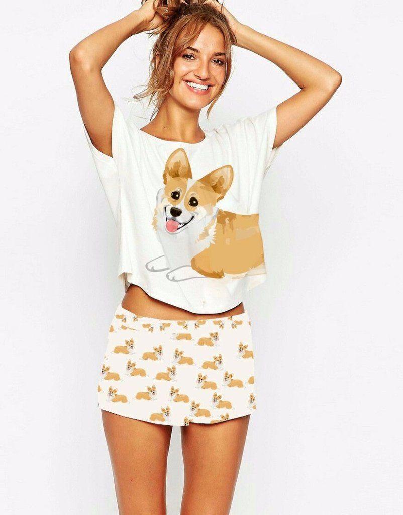 12d4ec5f5e DDS Cute Women Corgi Pajamas (Set Crop Top + Shorts)