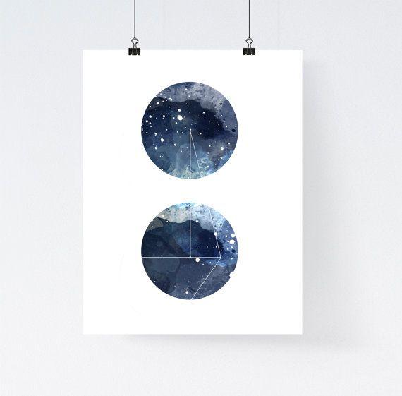 Nebel Galaxie Kunstdruck Runde geometrische von WhiteDoePrints