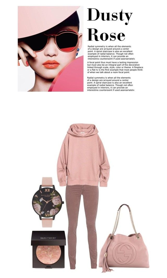 """Dusty Rose"" by the-awesome-book-geek ❤ liked on Polyvore featuring AG Adriano Goldschmied, Laura Mercier, Olivia Burton and Gucci"