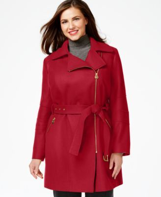 8546e7cbe68 MICHAEL Michael Kors Plus Size Asymmetrical-Zip Belted Coat