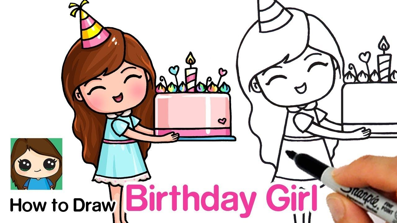 How to Draw a Birthday Cute Girl Holding a Cake YouTube