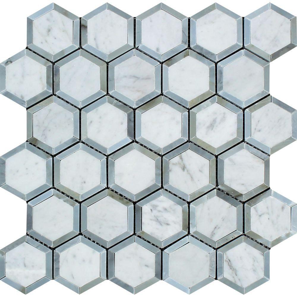2 x 2 honed bianco carrara marble vortex hexagon mosaic tile w 2 x 2 honed bianco carrara marble vortex hexagon mosaic tile w blue dailygadgetfo Gallery
