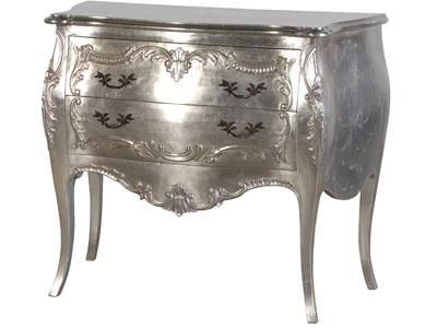 Silver Leaf 2 Drawer Carved Bombe Chest | French Bedroom Furniture ...