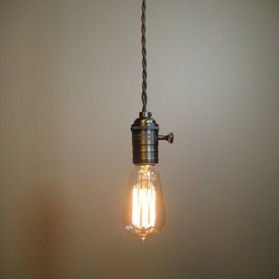 Bare bulb pendant light with cloth covered wire blue moon lights etsy