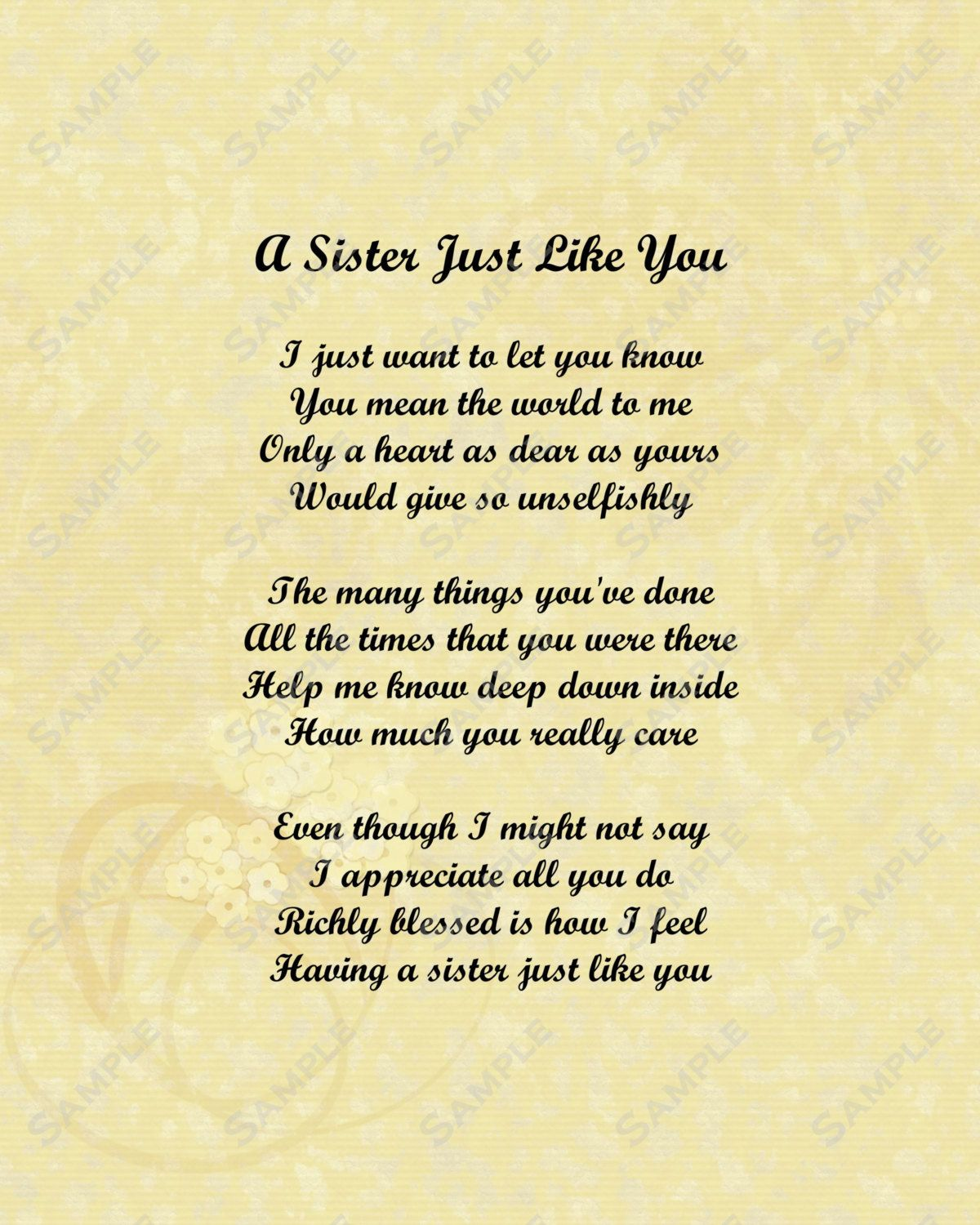 I Love Quotes For Sisters My Sister And Poems Poem 8