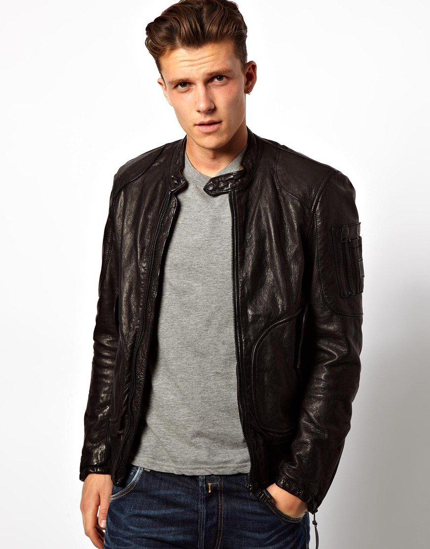 Leather Point Collar Biker Jacket Black Medium | ASOS, Leather and ...