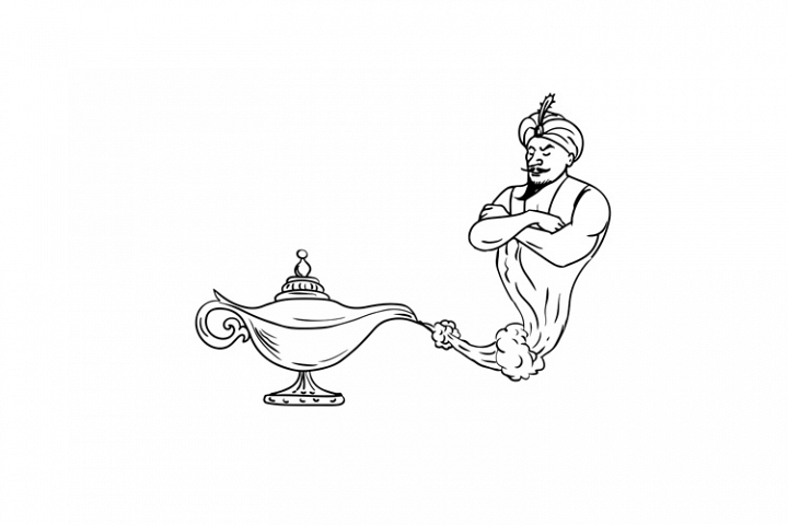 Genie Coming Out Of Oil Lamp Black And White Drawing 176297 Illustrations Design Bundles Black And White Drawing Black Lamps Oil Lamps