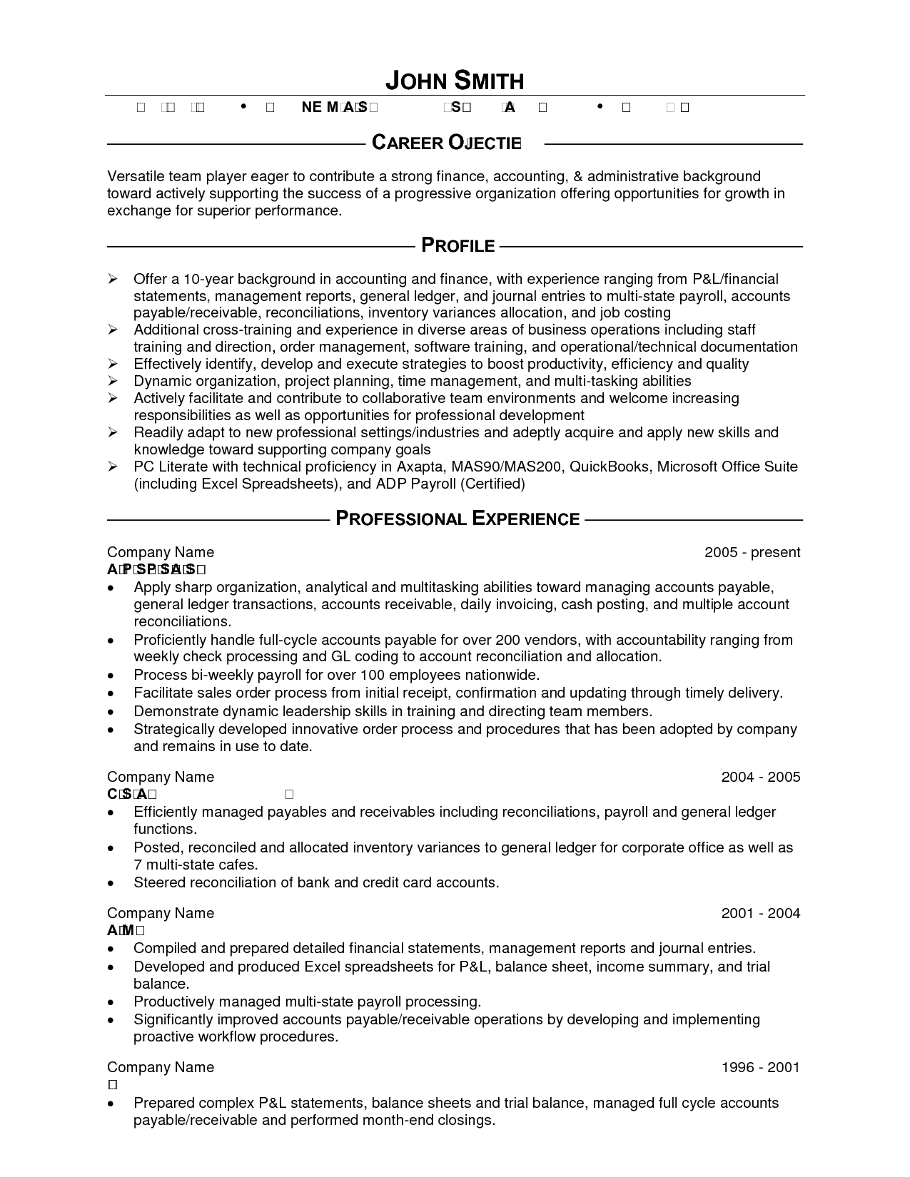 Resume Sample Of Accounting Clerk Position – Sample Accounting Resume