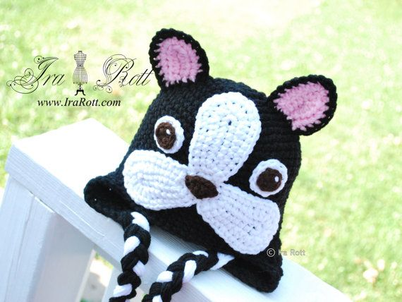 f04b2e98d8d Handmade Crochet French Bulldog Puppy Dog Hat Oscar is the cutest French  Bulldog Hat and it is handmade out of soft acrylic yarn.