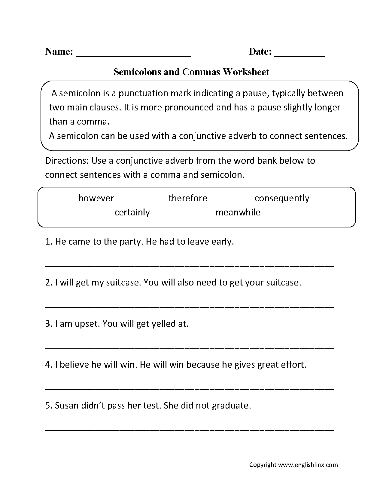 Semicolon And Commas Worksheet