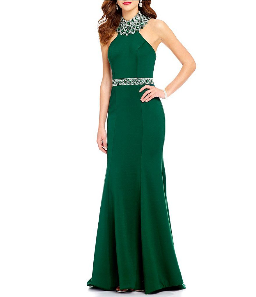 Ellie wilde mock neck beaded back trumpet dress mia pinterest