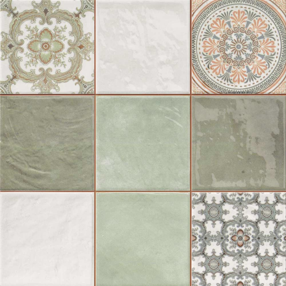 Mint Decor Tiles Patterned Kitchen Tiles Patterned Wall Tiles