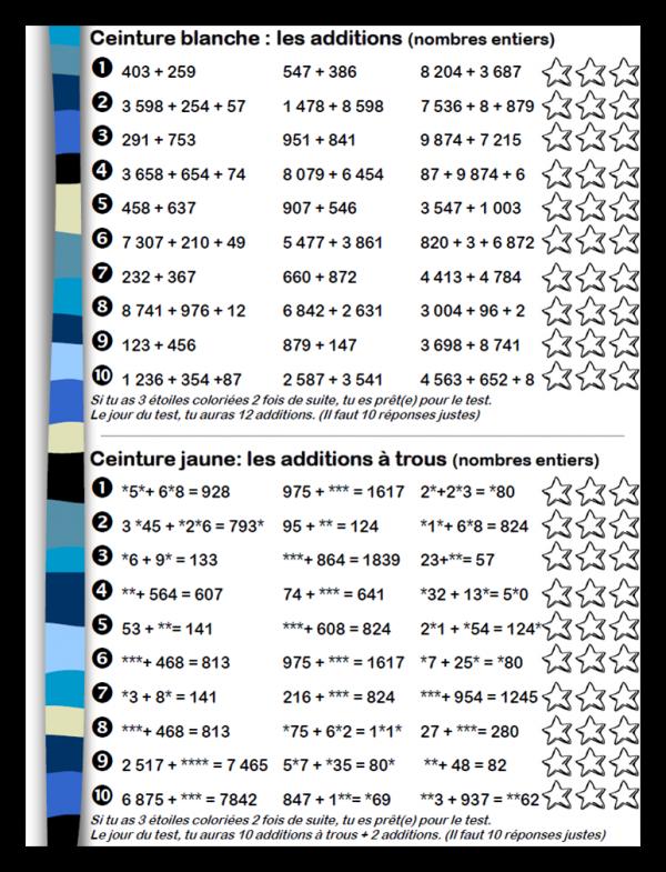 collection entière bien connu classique chic CM • Mathématiques • Ceintures de compétences - Opérations ...