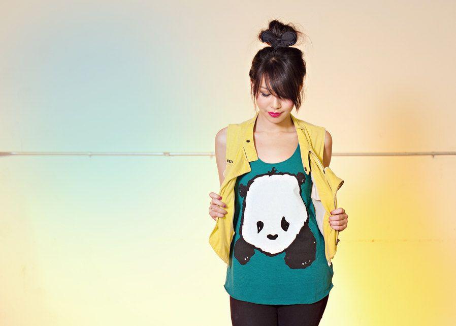 Baby Panda Women's Racerback Tank Top - Tri-Evergreen - Women's Sizes S, M, L. $25.00, via Etsy.